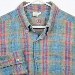 The Territory Ahead Menand039s Large Blue Green Red Check Textured Button-down Shirt