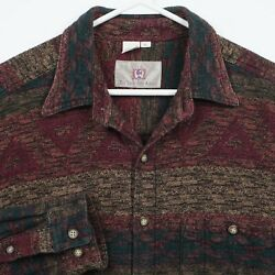 The Territory Ahead Menand039s Xl Striped Geometric Southwest Flannel Blanket Shirt