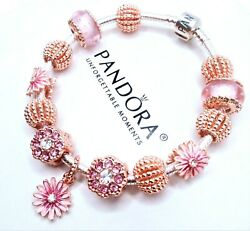 Pandora Silver Bracelet Rose Gold Murano Glass And Pink Daisy Cz European Charms