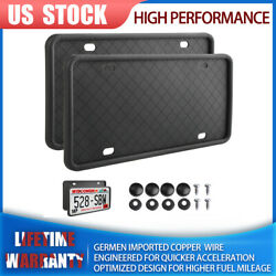 Hi-q Silicone License Plate Frame Anti-rattle With Installation Screws Black Usa