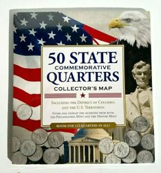 50 Fifty Us State Quarters Collector's Map And Coin Holder / Tri-fold Album, New