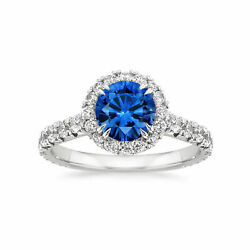 2.60 Ct Natural Diamond 14k Solid White Gold Natural Blue Sapphire Rings Size 7
