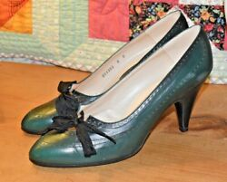 Vintage Michael for Saks Fifth Avenue Green Leather Pointy Toe Heels Size 8 $17.50