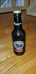 Vintage Budweiser Happy Holidays Clydesdales Large Jumbo Glass Bottle Beer