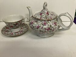 Lefton Music Box Teapot ,cup And Saucer