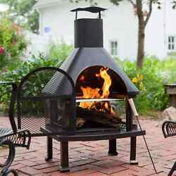 4 Ft Outdoor Fireplace With Free Cover Grill ,chiminea Light
