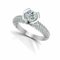 0.99 Ct Nouveau Design Real Diamond Engagement Ring 950 Platine Bande Taille M O