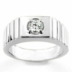 Superbe Platine Vrai Diamant Homme Mariage Bande Rond Coupe 0.35 Ct Taille T U V
