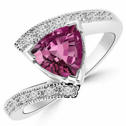 Genuine 1.68 Ct Diamond Pink Sapphire Gemstone Ring Solid 18kt White Gold Band O