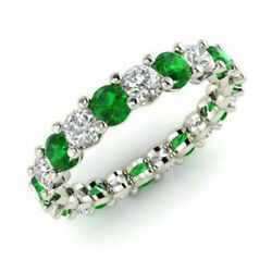 2.03 Ct Natural Diamond Emerald Eternity Band 14k White Gold Rings Size 8 7 6 5