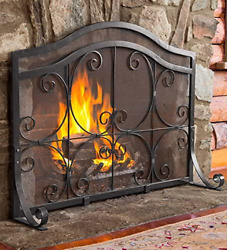 Plow And Hearth Small Crest Flat Guard Fireplace Screen, Solid Wrought Iron Frame