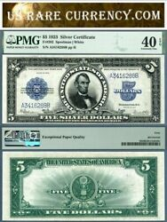 1923 5 Silver Certificate The Porthole Note Fr-282 Pmg Graded Ef40 Epq
