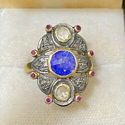 Antique Design Yg Covered W Sapphire And Diamond And Ruby Ring 10k Apr W/coa}
