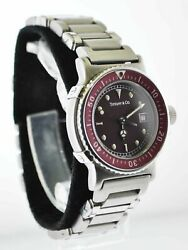 And Co. Rare Vintage Ss Burgundy Men's Diving Watch - 10k Apr. W/ Coa ✓