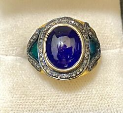 Antique Design Yg And Sterling Silver W Sapphire And 60 Diamonds Ring 8k Apr W/coa}