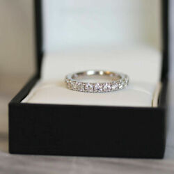 Real Round 1.62 Ct Diamond Eternity Wedding Band 14k Solid White Gold Size 5 6 8
