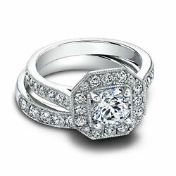 1.60 Ct Real Diamond Wedding Ring Sets 14k Solid White Gold Rings Size 5 6 7 8 9