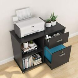 Lockable File Cabinet W/ 2drawer Mobile Lateral Filing Cabinet W/ Rolling Wheel
