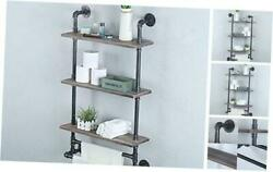 Industrial Pipe Bathroom Shelves Wall Mounted With 2 Towel 24 Inch 3 Tier