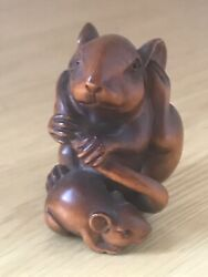 Magnificent Antique Japanese Hand Carved Boxwood Rat Signed Netsuke