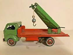 Vintage English Clockwork Tin Toy Mettoy Crane Lorry Truck 3196 Working With Key