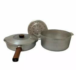 Vintage Magnalite Ghc Aluminum Frying Pan 5610 And Stock Pot 5248 Lid And Trivet