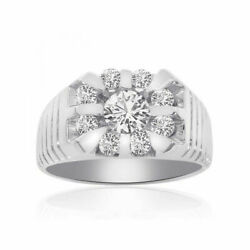 Round 1.00 Ct Natural Diamond Menand039s Bands 14k Solid White Gold Size 9 10.5 11 12