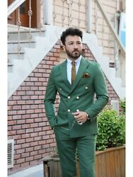 Menand039s Suits 2 Piece Formal Wedding Groom Party Wear Green Slim Fit Dinner Suit