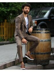 Menand039s Suits 2 Piece Formal Wedding Groom Party Wear Brown Slim Fit Dinner Suit