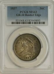 1837 Capped Bust Half 50c Gr-20 Reeded Edge R.3 Ms63 Pcgs 944636-23