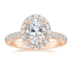 1.75 Ct Labo Grown Anneau Fianandccedilailles Diamant 14k Or Rose Superbe Taille L M N
