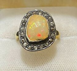 Antique Design Yg And Sterling Silver With Opal And Diamonds Ring 6k Apr W/coa}