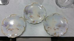 3 Antique Fish Plates In Natural Habitat Hand Painted Limoges France Gold Gilt