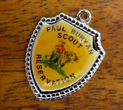 Vintage Silver Paul Bunyan Scout Reservation Michigan Travel Shield Charm 20-28