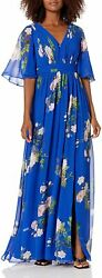 Adrianna Papell Womenand039s Floral Chiffon Dress With Flutter Sleeves