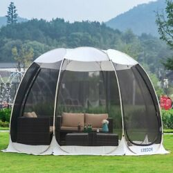 Leedor Screen House Room Pop Up Camping Tent Gazebo 12and039x12and039 Gray