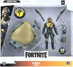 Fortnite Preset Packandnbspglider With 4 Articulated 8-ball Goldandnbspaction Figure New