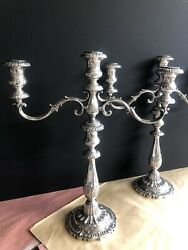 Vintage Victoria Fisher Sterling Silver Two 3-lite Candlestick