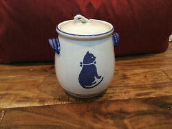 Country Blue International House 1982 Farmhouse Cat Cookie Jar Canister 6'' Mint