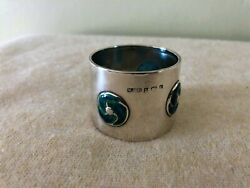 Rare Solid Sterling Silver 925 Enamel Napkin Ring Archibald Knox Whh Liberty Co