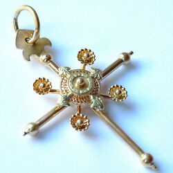 18k Gold French Antique Cross Pendant So Called And039croix Bandacirctonand039 Circa 1880