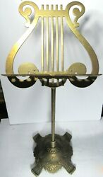 Ornate Music Stand Brass Lyre Harp Vintage 28.5tall Non-adjustable Concert Hall
