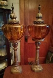 Pair 2 Vintage Mcm Hollywood Regency Amber Glass 3 Way Table Lamps Table Buffet