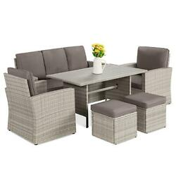 7-seater Conversation Wicker Dining Table, Outdoor Patio Furniture Set