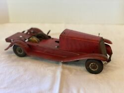 """Antique Wind Up Toy Car Maybe Girard Patent 1912545 14"""" Coupe Fire Engine Red"""