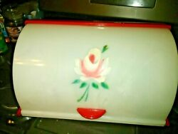Vintage Breadbox Beautiful Rolltop Red Handpainted Rose Red And White Rare