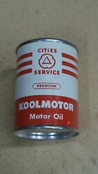 Vintage Cities Service 1960's Coin Bank 3 Metal Oil Can Gas Sign Near Mint