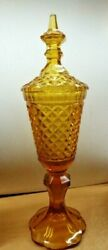 Vintage Antique 15.5 Huge Honey Amber Glass Quilted Diamond Candy Jar Gorgeous