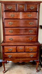 Vintage High Boy Chest Of Drawers Queen Anne Solid Wood Brass Handles 7 Drawers