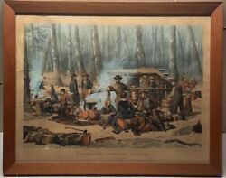 Antique Currier And Ives American Forest Scene Maple Sugaring Lithograph - Best 50